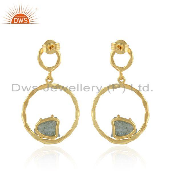 Suppliers Natural Apatite Gemstone Gold Plated Silver Disc Earrings Jewelry