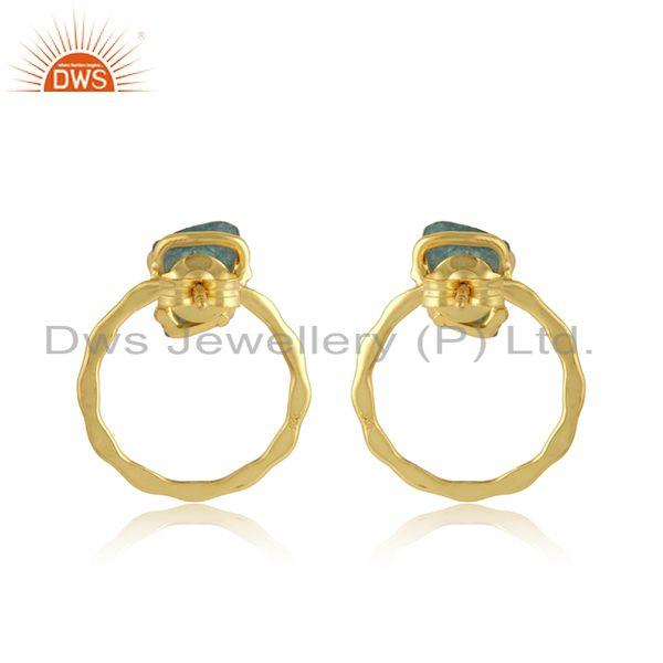 Suppliers Handmade Gold Plated Disc Design Apatite Gemstone Earring Jewelry