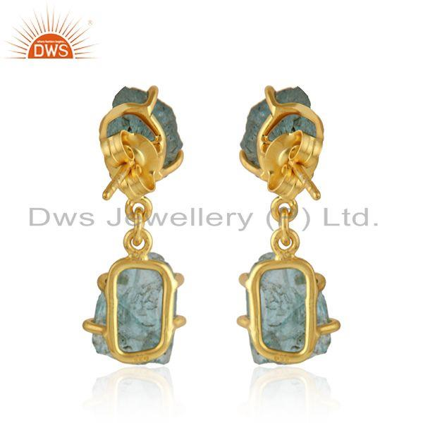 Suppliers Natural Apatite Yellow Gold Plated Silver Dangle Earrings Jewelry