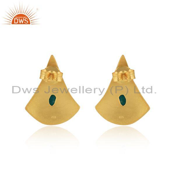 Exporter of Texture Design Gold On Silver 925 Dyed Emerald Earrings