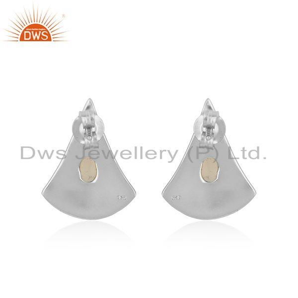 Suppliers Handmade Texture Fine Silver Ethiopian Opal Gemstone Earrings