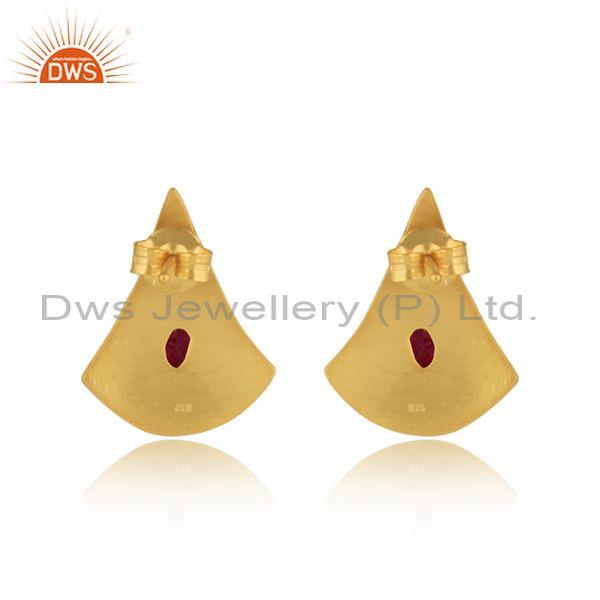 Exporter of Texture Design Gold On Silver 925 Dyed Ruby Earrings