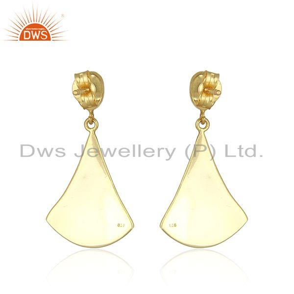 Suppliers Ethiopian Opal Gemstone Gold Plated Texture Silver Dangle Earring