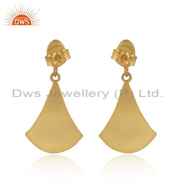 Exporter of Textured Gold on Silver 925 Dangle Lapis Earring