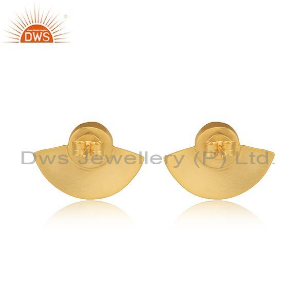 Exporter of Aqua Chalcedony Gold on 925 Silver Textured Fan Studs