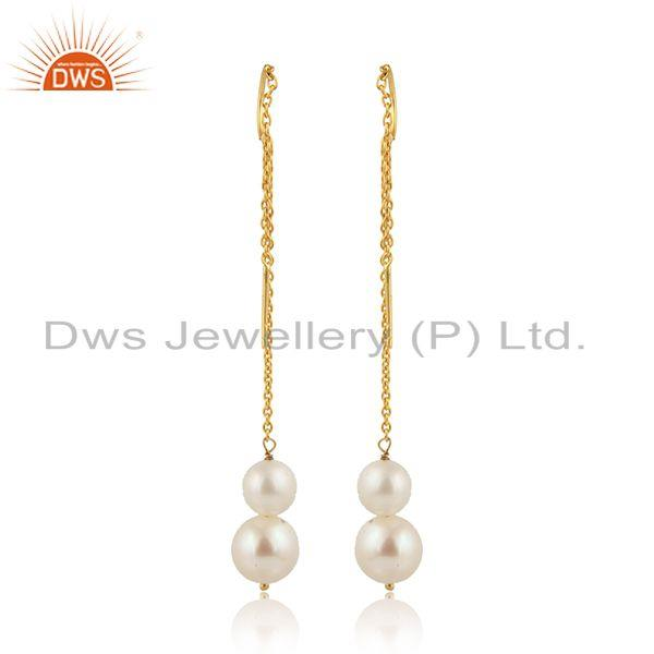 Designer of Longing pearl drops designer gold plated 925 silver chain earring