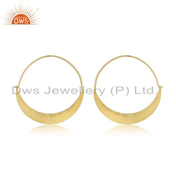 Designer of New arrival yellow gold plated silver bali hoop earrings jewelry