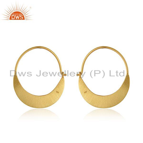 Designer of Yellow gold plated 925 silver designer bali hoop earrings jewelry