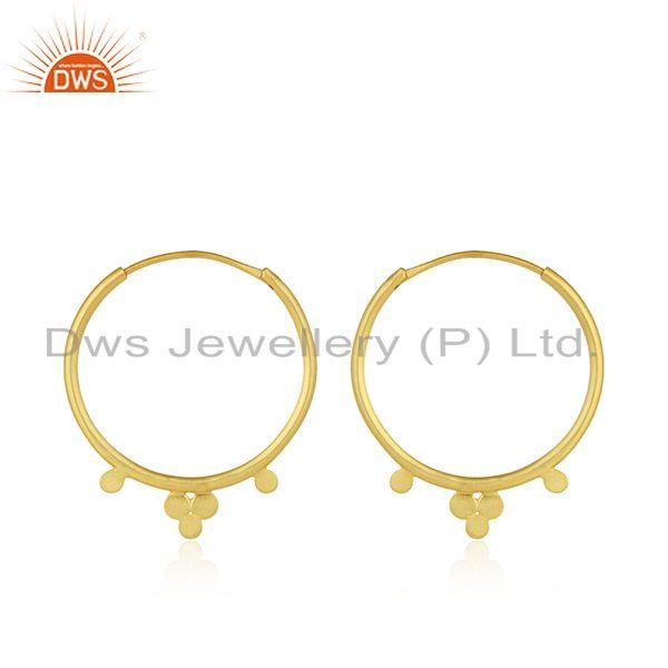 Designer of Designer gold plated 925 silver womens bali hoop earrings jewelry