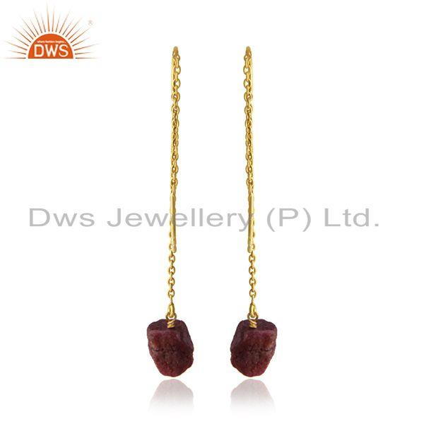 Suppliers Natural Ruby Gemstone 925 Silver Yellow Gold Plated Chain Earring