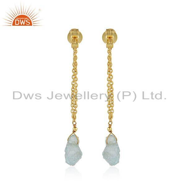 Suppliers Aquamarine Gemstone Indian 18k Gold Plated Silver Chain Earrings