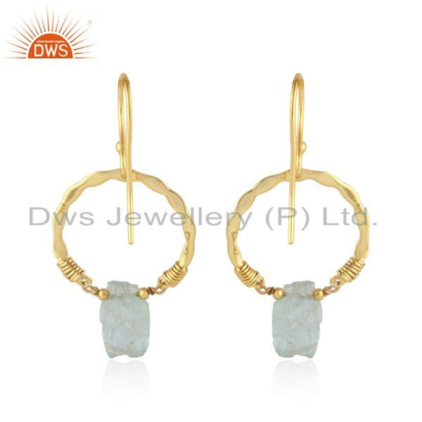 Suppliers Round Gold Plated 925 Silver Designer Aquamarine Gemstone Earring