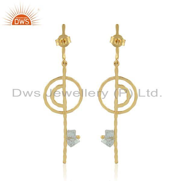Suppliers Handmade Stick Gold Plated 925 Silver Aquamarine Gemstone Earring