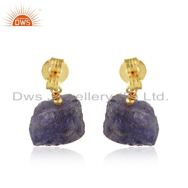 Suppliers Tanzanite Gemstone Handmade Design Gold Plated Silver Earrings