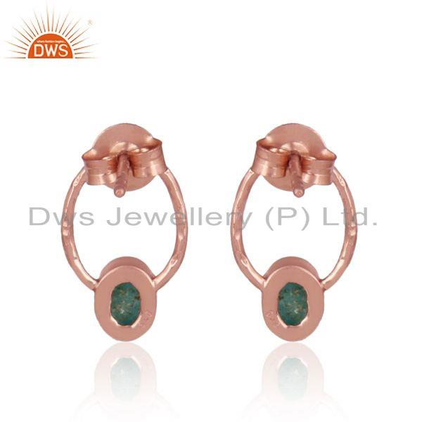 Designer of Arizona turquoise dainty designer studs in rose gold on silver
