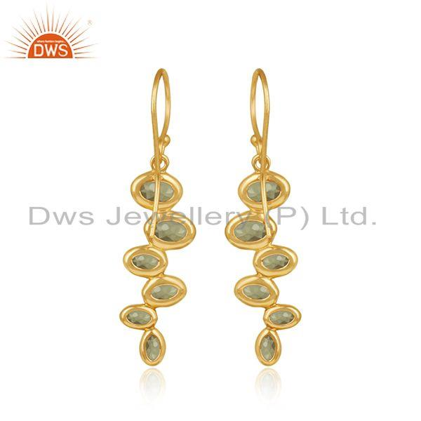 Designer of Designer gold plated 925 silver peridot gemstone earrings jewelry