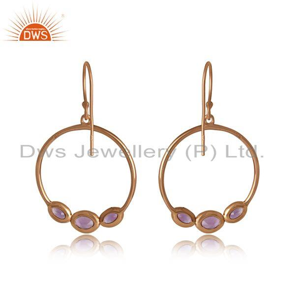Designer of Amethyst gemstone designer rose gold on silver dangle earrings