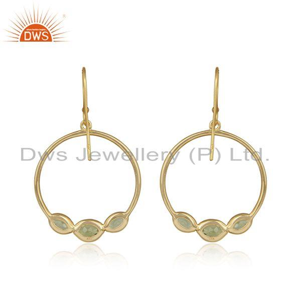 Designer of Disc design gold plated 925 silver peridot gemstone earring jewelry