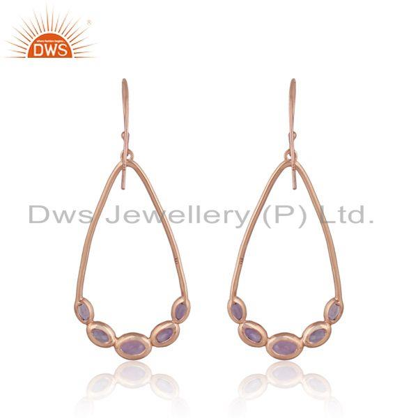 Designer of Natural amethyst gemstone rose gold on silver designer earrings