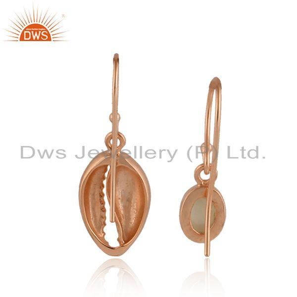 Designer of Mother of pearl gemstone cowrie rose gold plated silver earrings