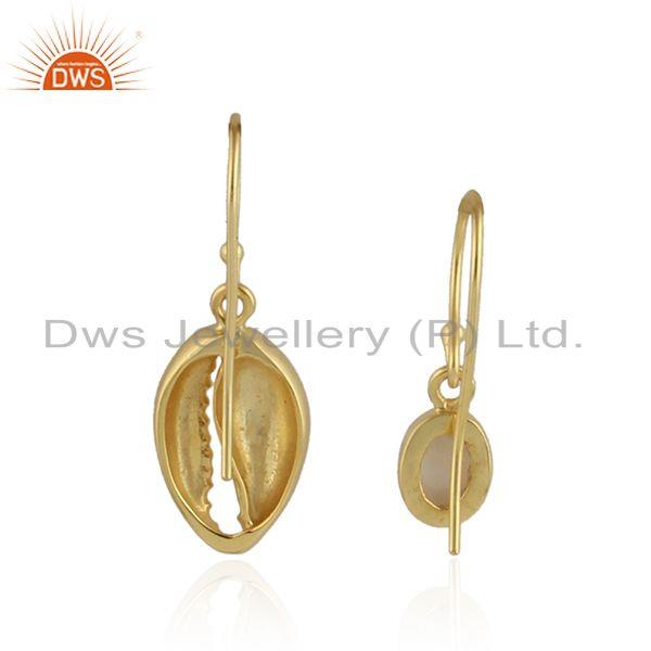 Designer of Mother of pearl gemstone cowrie gold plated silver earrings jewelry