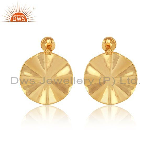 Designer of Natural pearl gemstone disc design gold plated 925 silver earrings