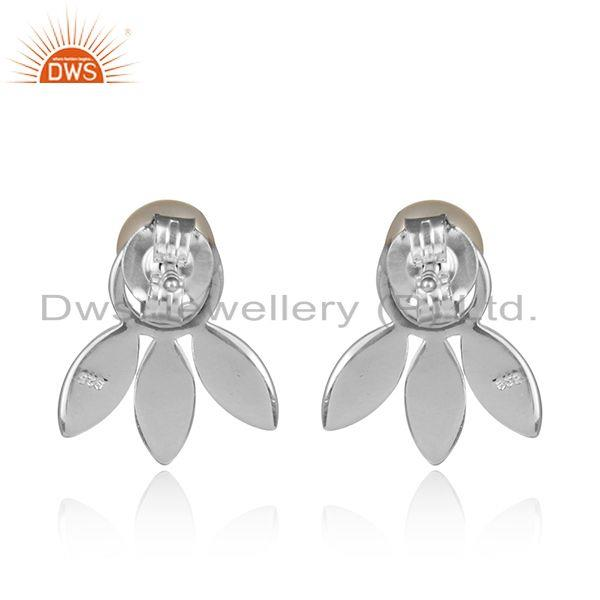 Designer of Designer dainty leaf stud in fine silver with adorable pearl