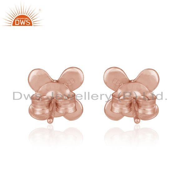 Designer of Designer dainty earring in rose gold on silver 925 with pearl