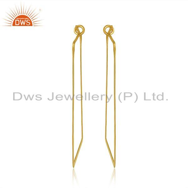 Designer of Handmade geometrical large hoop in yellow gold on silver 925