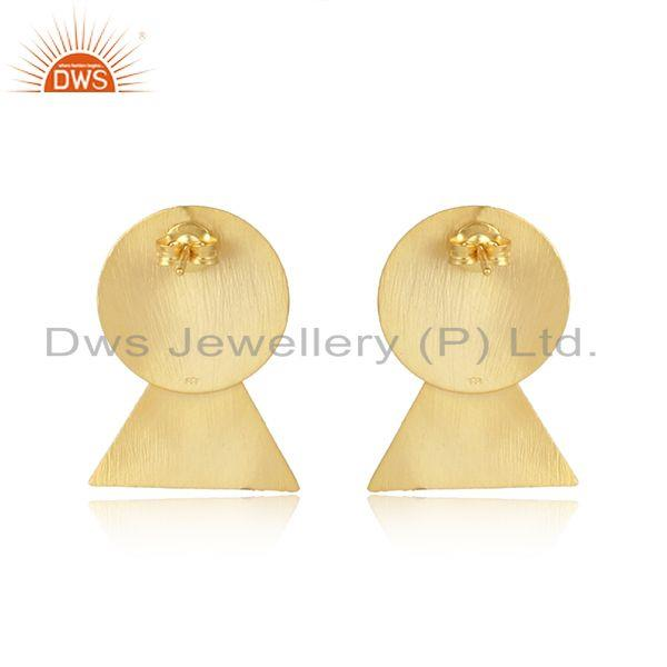 Designer of Handmade yellow gold plated 925 silver womens earrings jewelry