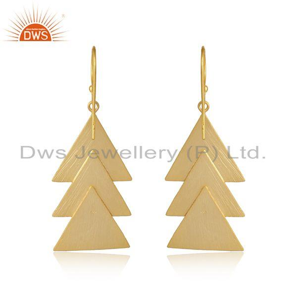 Designer of Triangle shape yellow gold plated plain silver designer earrings