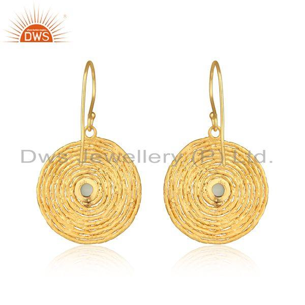 Designer of Spiral design gold plated silver aqua chalcedony gemstone earrings