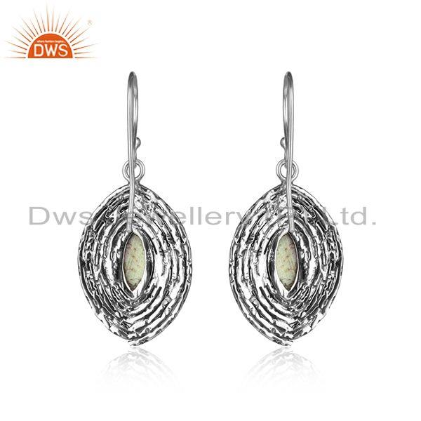 Designer of Handmade 925 silver oxidized labradorite gemstone womens earrings