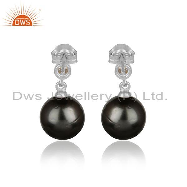 Designer of Zircon gray pearl gemstone white rhodium plated silver earrings