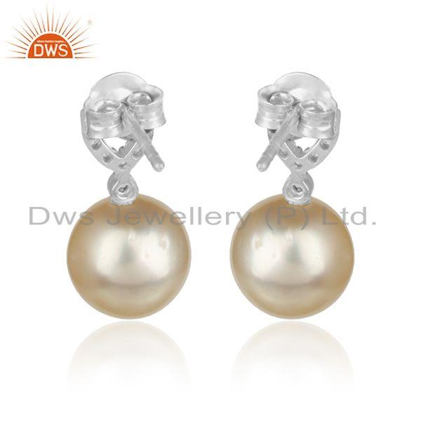 Designer of Cz natural pearl gemstone white rhodium plated designer earrings