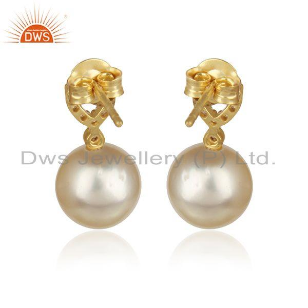 Designer of Cz pearl gemstone handmade gold plated 925 silver drop earrings