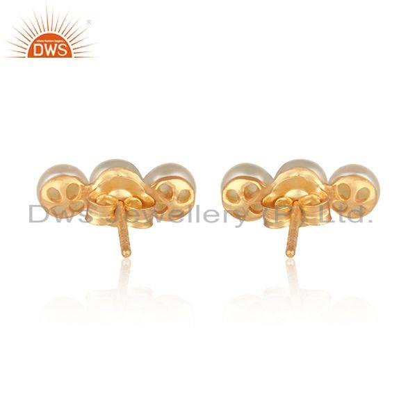 Designer of Natural pearl gemstone designer gold plated womens silver earrings
