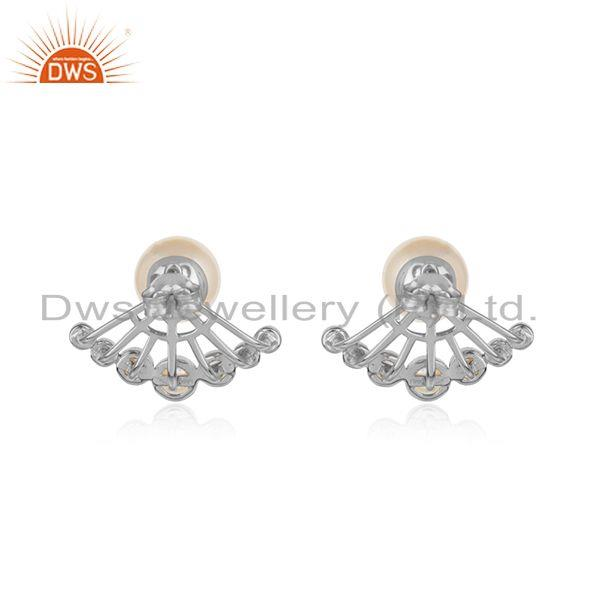 Designer of Pearl gemstone white rhodium plated silver stud earrings jewelry