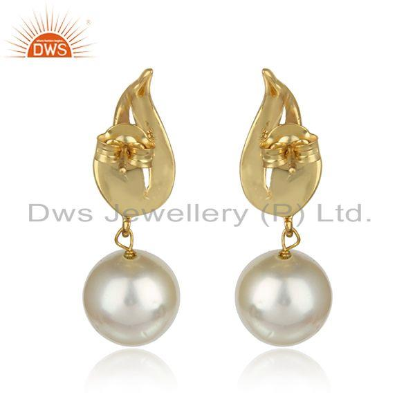 Designer of Natural pearl drop gemstone designer gold plated 925 silver earrings