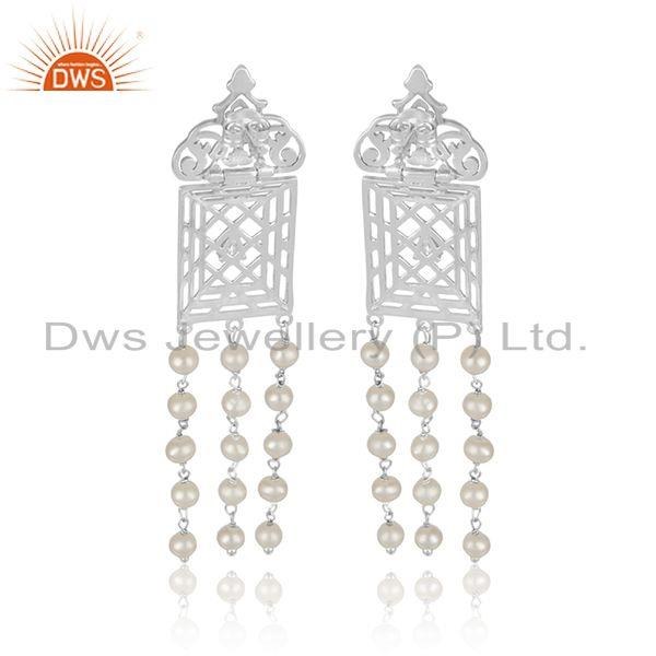 Designer of Filigree frame white rhodium plated silver cz pearl gemstone earring