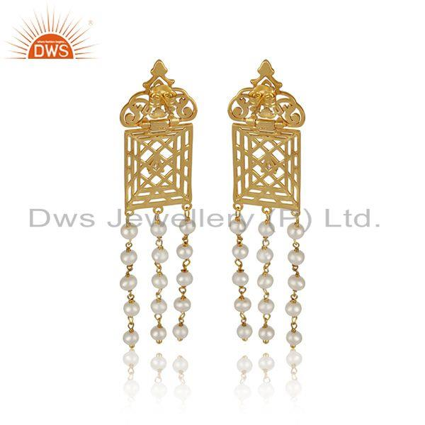 Designer of Filigree frame gold plated 925 silver pearl beaded gemstone earrings