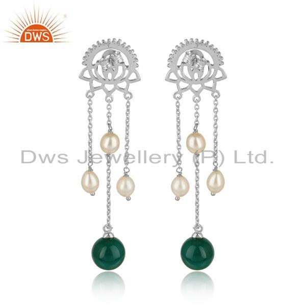 Designer of Cz green onyx gemstone white rhodium plated silver designer earrings