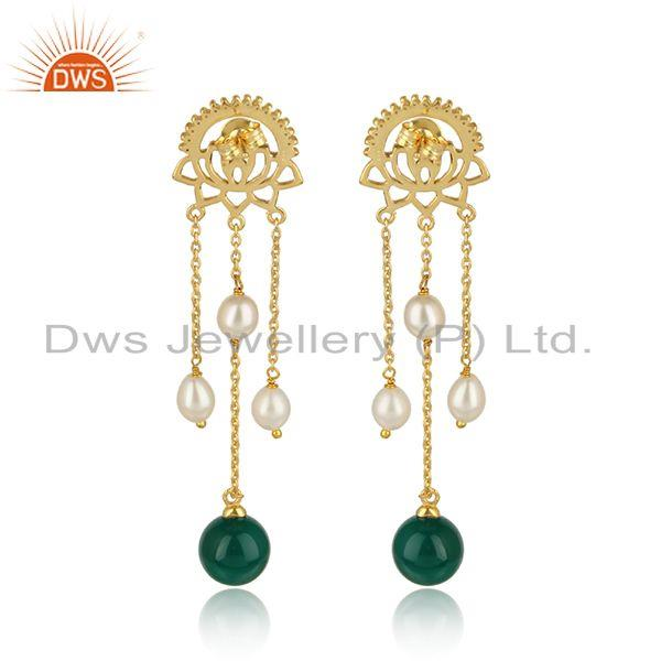 Designer of Louts gold plated silver pearl green onyx drop gemstone earrings