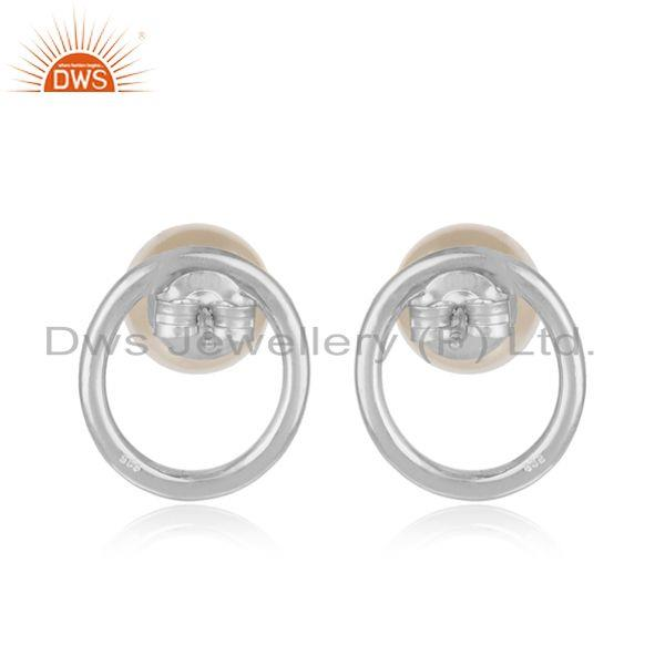 Designer of Round white rhodium plated 925 silver pearl gemstone stud earrings