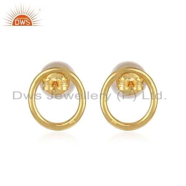 Designer of Round 18k gold plated 925 silver pearl gemstone stud earring jewelry