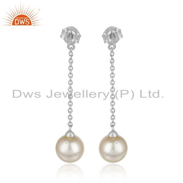 Designer of Cz pearl drop gemstone white rhodium plated silver chain earrings