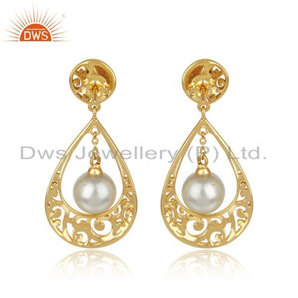 Designer of New 925 silver 18k gold plated 925 silver designer earrings jewelry