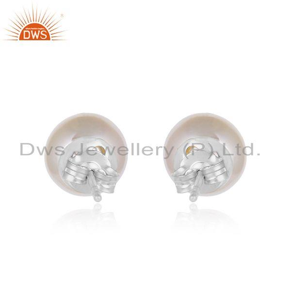 Designer of White rhodium plated silver natural pearl gemstone stud earring