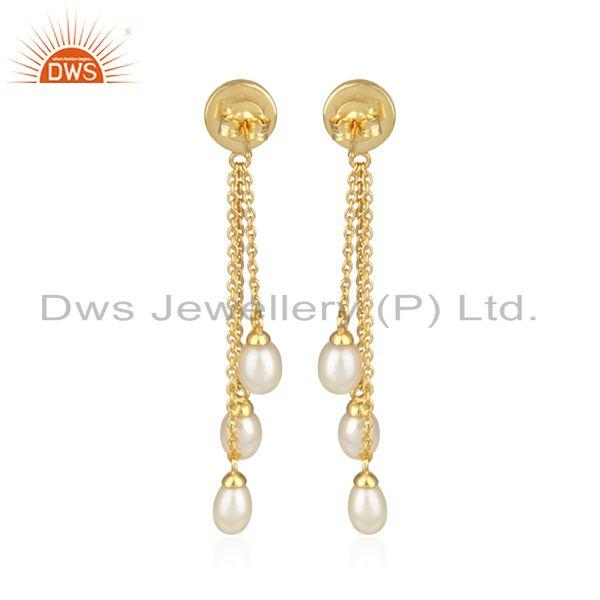 Designer of Natural pearl chain drop design gold plated 925 silver earrings