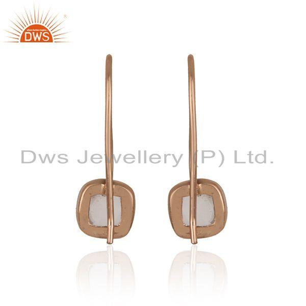Designer of Handmade smooth earring in rose gold on silver with rose quartz